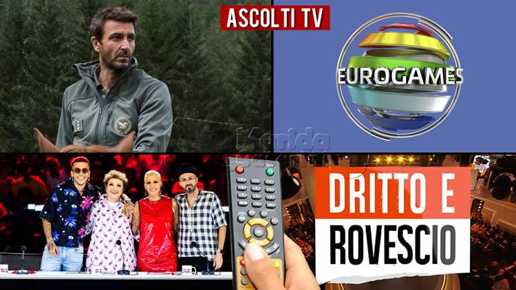 Ascolti Tv - giovedì 3 ottobre 2019 responsi Auditel share Eurogames