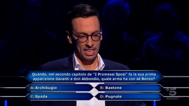 Chi vuol essere milionario? 22 gennaio - La decima domanda ad Enrico Remigio da 30 mila euro sui Promessi Sposi