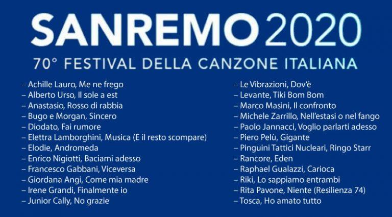 Sanremo 2020 canzoni