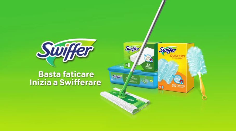 Spot in Tv Swiffer basta faticare inizia a swifferare