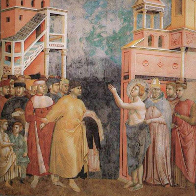 Achille Lauro look Sanremo affresco Giotto
