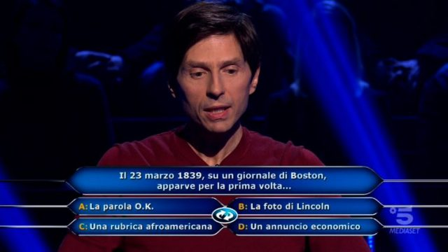 Chi vuol essere milionario diretta 12 febbraio - Alessandro Limiroli risponde alla domanda numero nove dopo lo Switch