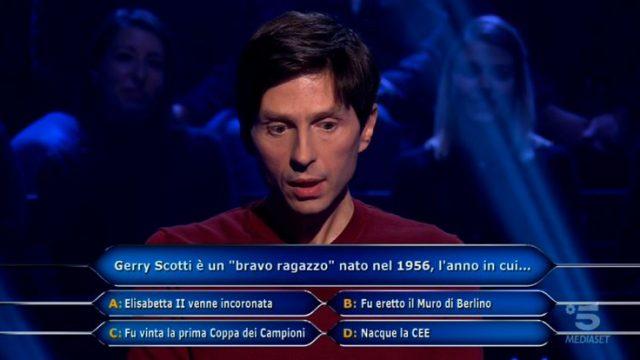 Chi vuol essere milionario diretta 12 febbraio la quinta domanda di Alessandro Limiroli