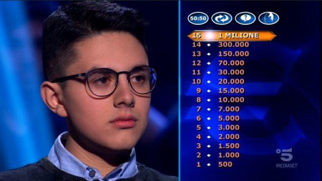 Chi vuol essere milionario diretta 19 febbraio - Secondo concorrente il giovanissimo Marco Mancini