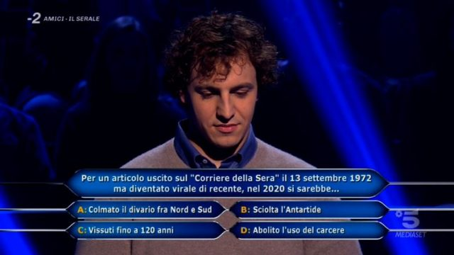 Chi vuol essere milionario diretta 26 febbraio - La nona domanda di Brenno