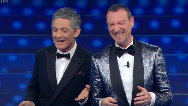 Sanremo 2020 look prima serata Fiorello eAmadeus