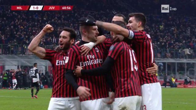 Coppa Italia su Rai 1 - L'esultanza del Milan dopo il gol all'andata