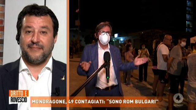 Dritto e rovescio 25 giugno - Salvini guarda la diretta di Raffaele Auriemma da Mondragone