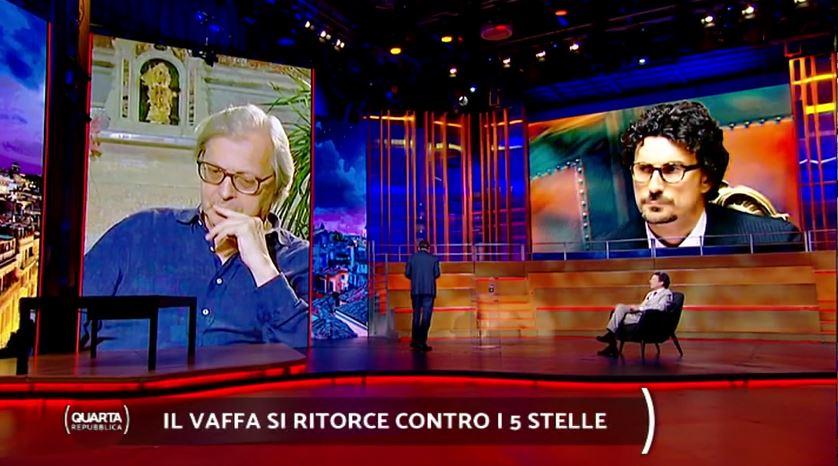 Quarta Repubblica, Sgarbi infuriato, per Porro Berlusconi scagionato