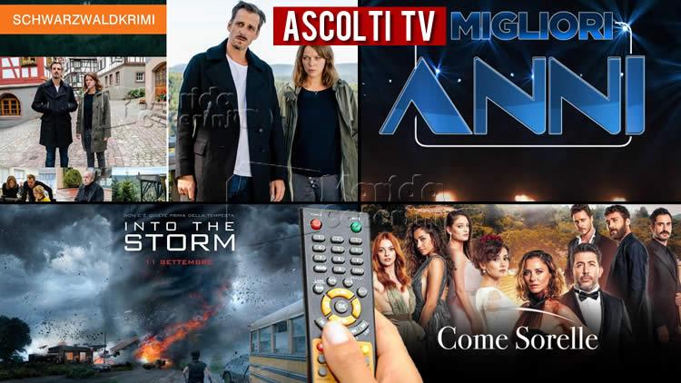 Ascolti TV venerdì 14 agosto 2020