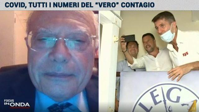 Il virologo Massimo Galli guarda le immagini di Matteo Salvini