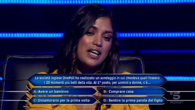 Chi vuol essere milionario 22 settembre, diretta - La nona domanda di Zafiira Mamudale