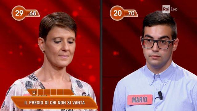 LEredità 28 settembre, diretta - La sfida tra Fabiana e Mario