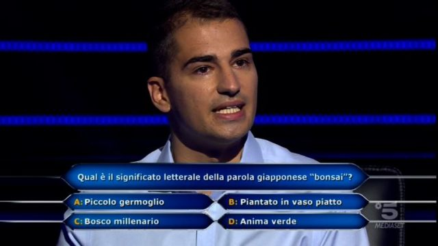 Chi vuol essere milionario 1 ottobre, diretta - Decima domanda Jona Motta