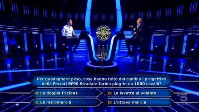 Chi vuol essere milionario 1 ottobre, diretta - Sesta domanda Jona Motta