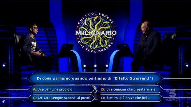 Chi vuol essere milionario 15 ottobre, diretta, la decima domanda a Chris Joseph Caraccioli