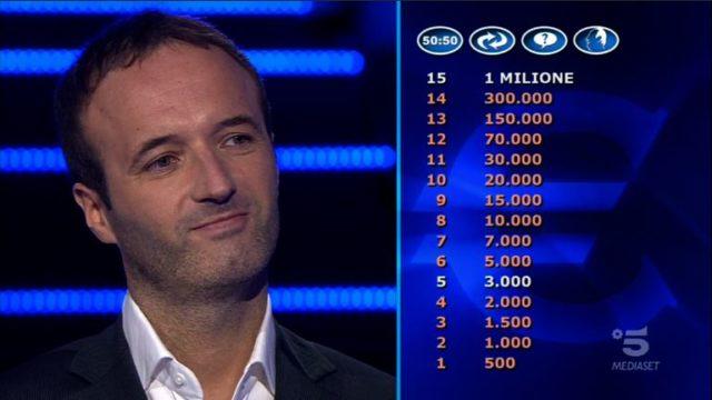 Chi vuol essere milionario 22 ottobre, diretta, secondo concorrente Federico Monutti