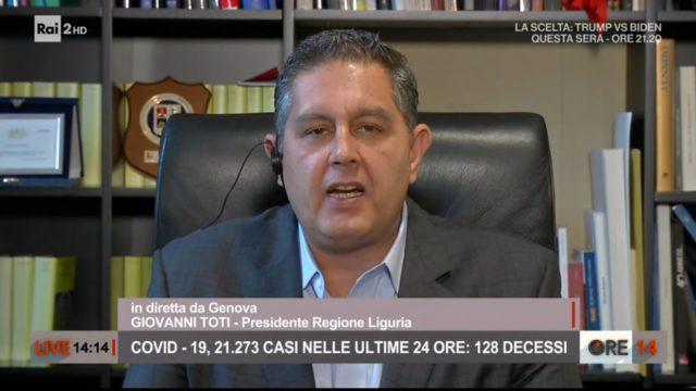 Ore 14 puntata 26 ottobre Il Presidente Giovani Toti da Genova