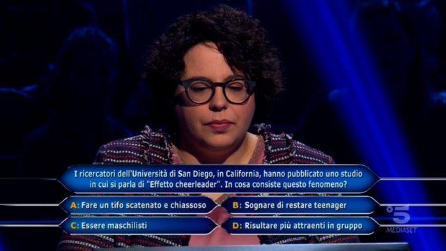 Chi vuol essere milionario 5 novembre, diretta, ottava domanda Ilaria Sambinello